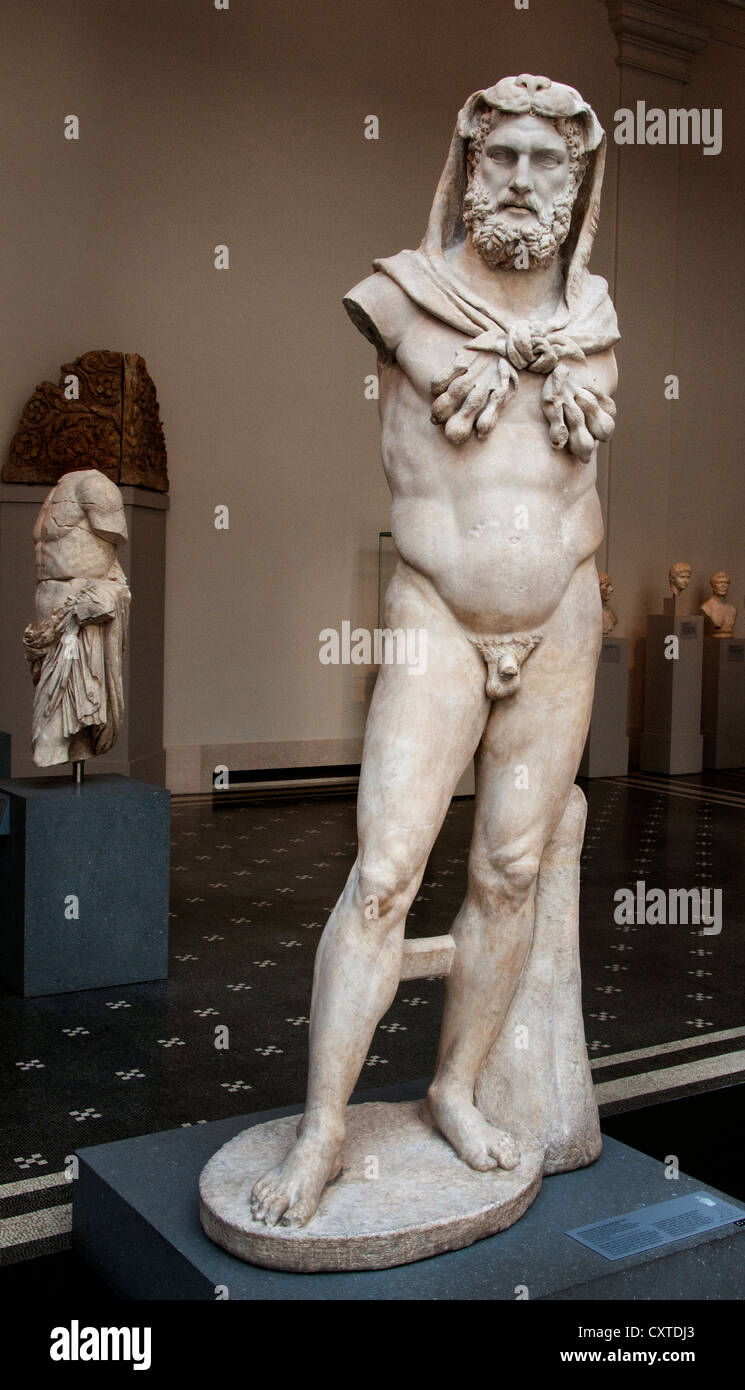 Marble Statue of a  Bearded Hercules Roman Flavian period 68-98  AD Stock Photo