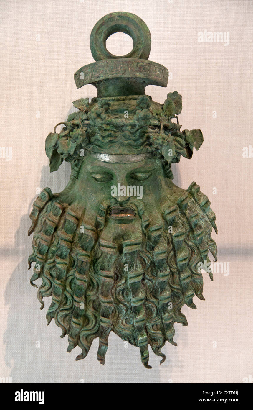 Bronze handle attachment in form of a mask Greek or Roman 1st C BC  - 1st C AD from the sea off Majorca Spain - Stock Image