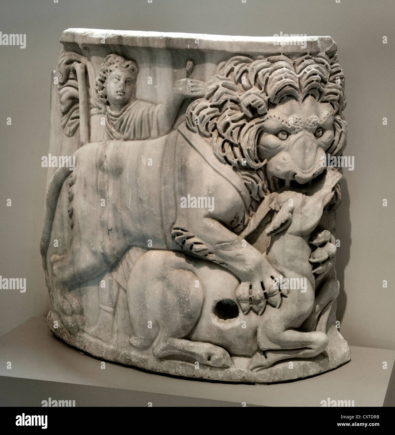 Ferocious Lion devouring a deer Marble sarcophagus A.D. 220  Roman 27 cm Italian Italy Stock Photo