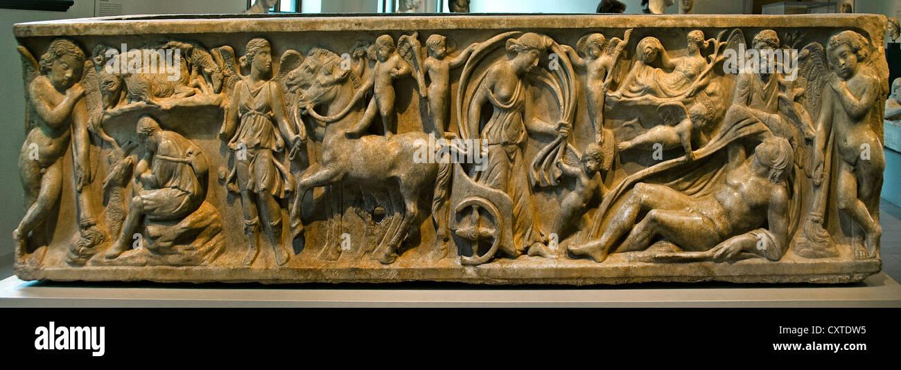 Marble sarcophagus with the myth Endymion a beautiful Shepherd loved bu the moon goddess Selene  Roman mid 2nd Century - Stock Image