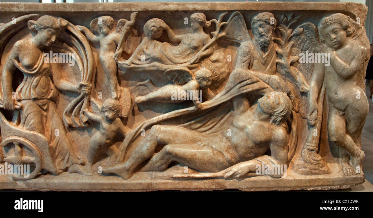 Marble sarcophagus with the myth Endymion a beautiful Shepherd loved bu the moon goddess Selene  Roman mid 2nd Century - Stock Image
