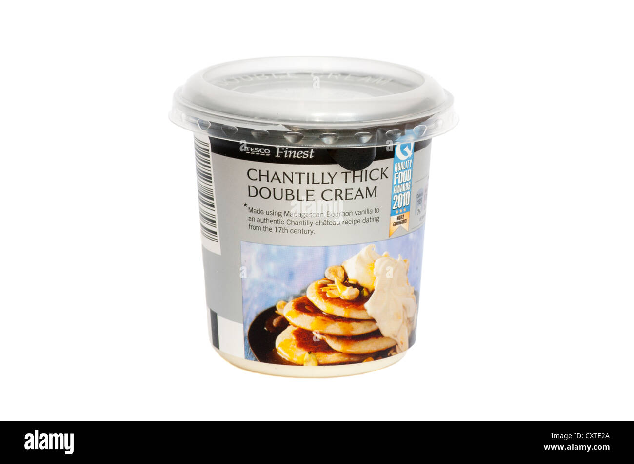 Tub Of Tesco Finest Chantilly Thick Double Cream Stock Photo Alamy