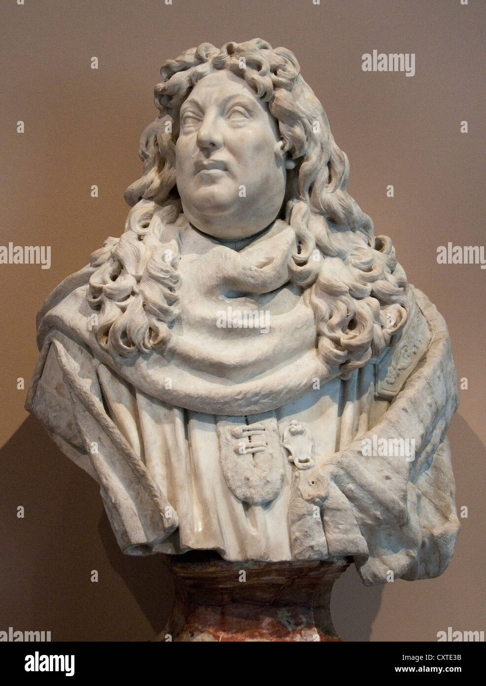 Bust of a Magistrate Marble  France French 1675 - Stock Image
