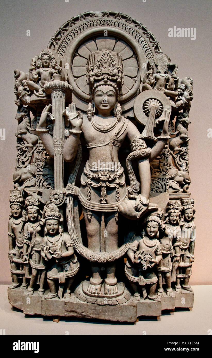 Vishnu 10th–11th century India Punjab Sandstone 25.4 cm Hindu - Stock Image