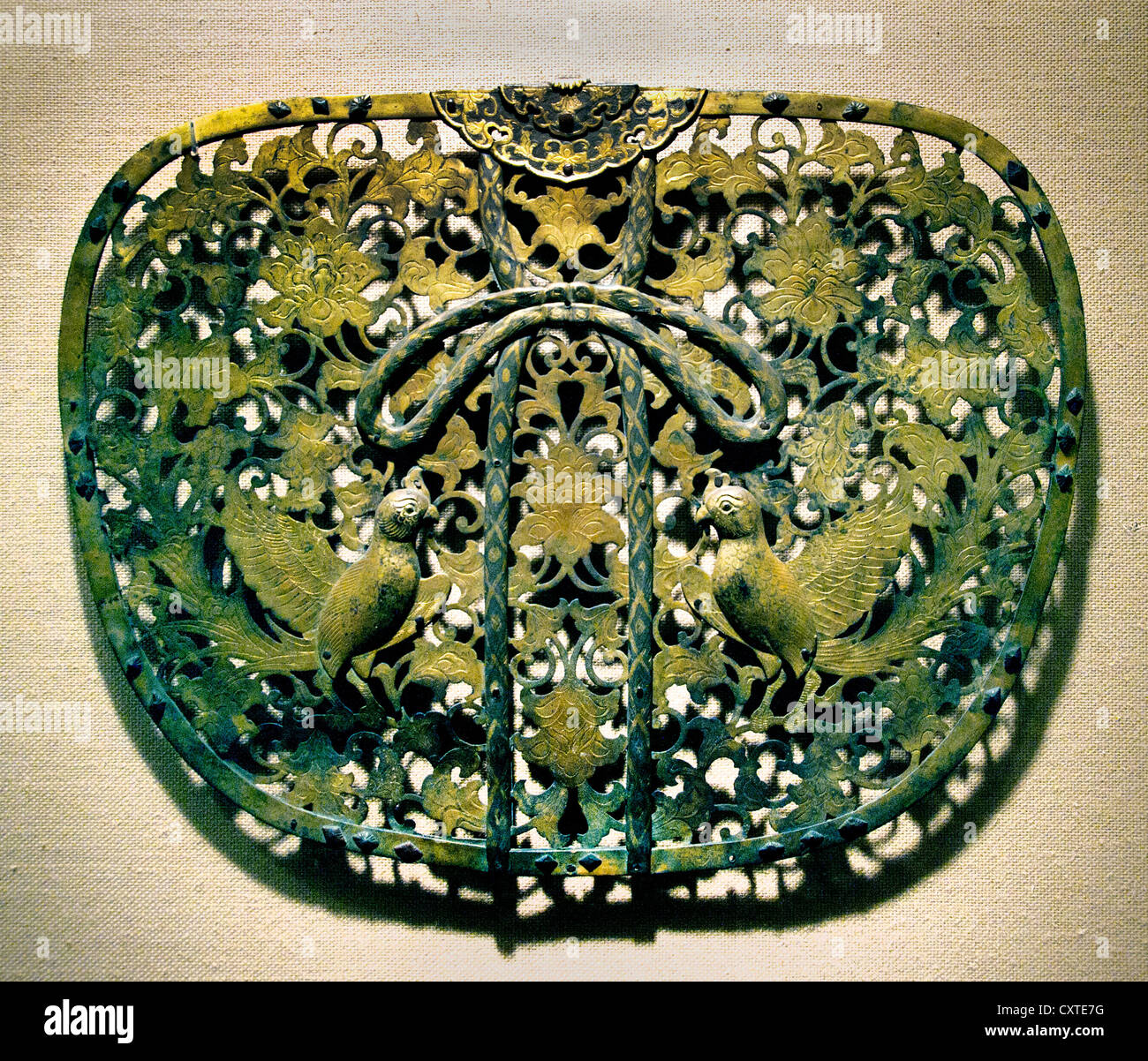 Keman Decorative Pendant Disk  Kamakura period (1185–1333) Japan Gilt bronze and silve 27.9 cm X 38.7 cm Metalwork - Stock Image
