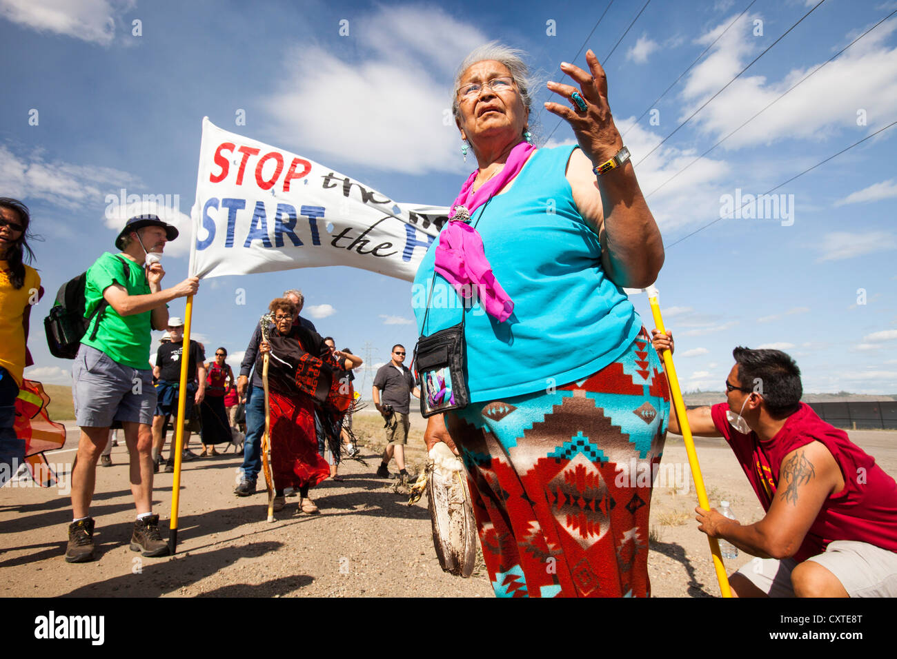 First Nation Canadians protests against the destruction and pollution of the Tar Sands industry at the 4th annual - Stock Image