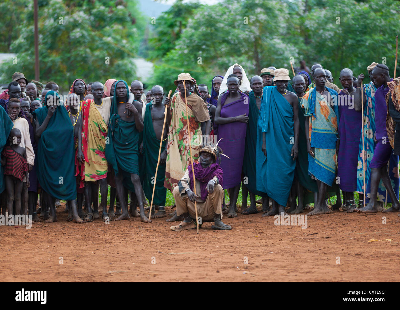 Suri Tribe People At A ceremony organized by the government, Kibish, Omo Valley, Ethiopia Stock Photo