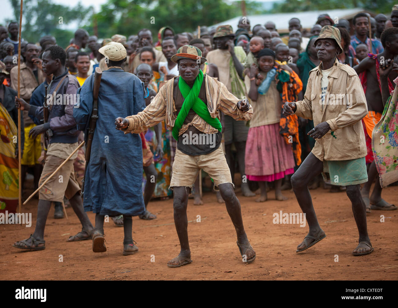 Suri Tribe People Dancing At A Ceremony Organized By The Government, Kibish, Omo Valley, Ethiopia Stock Photo