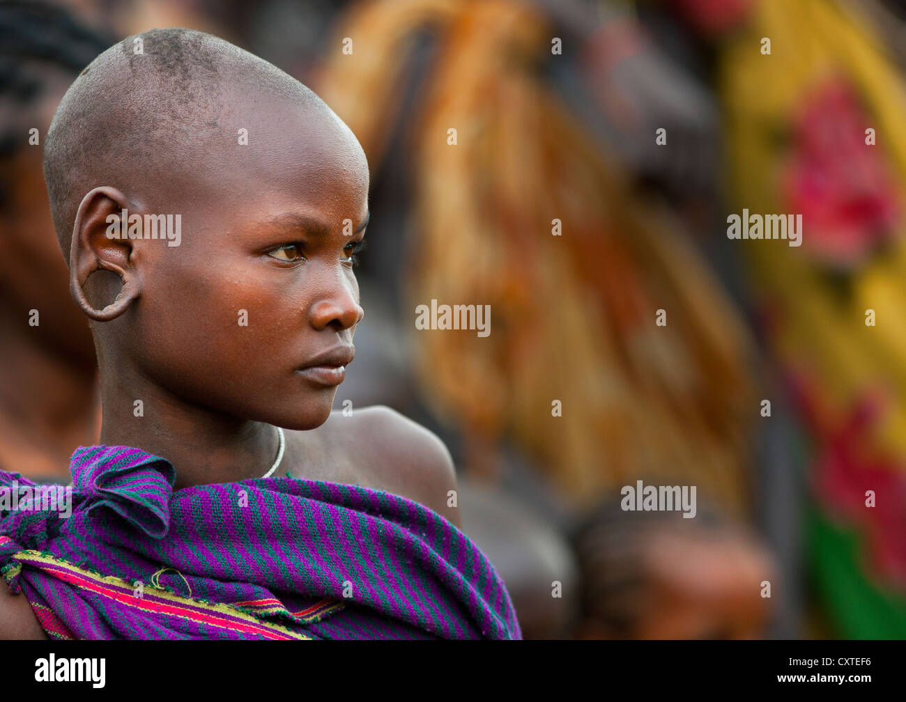 Suri Tribe Girl At A Ceremony Organized By The Government, Kibish, Omo Valley, Ethiopia Stock Photo