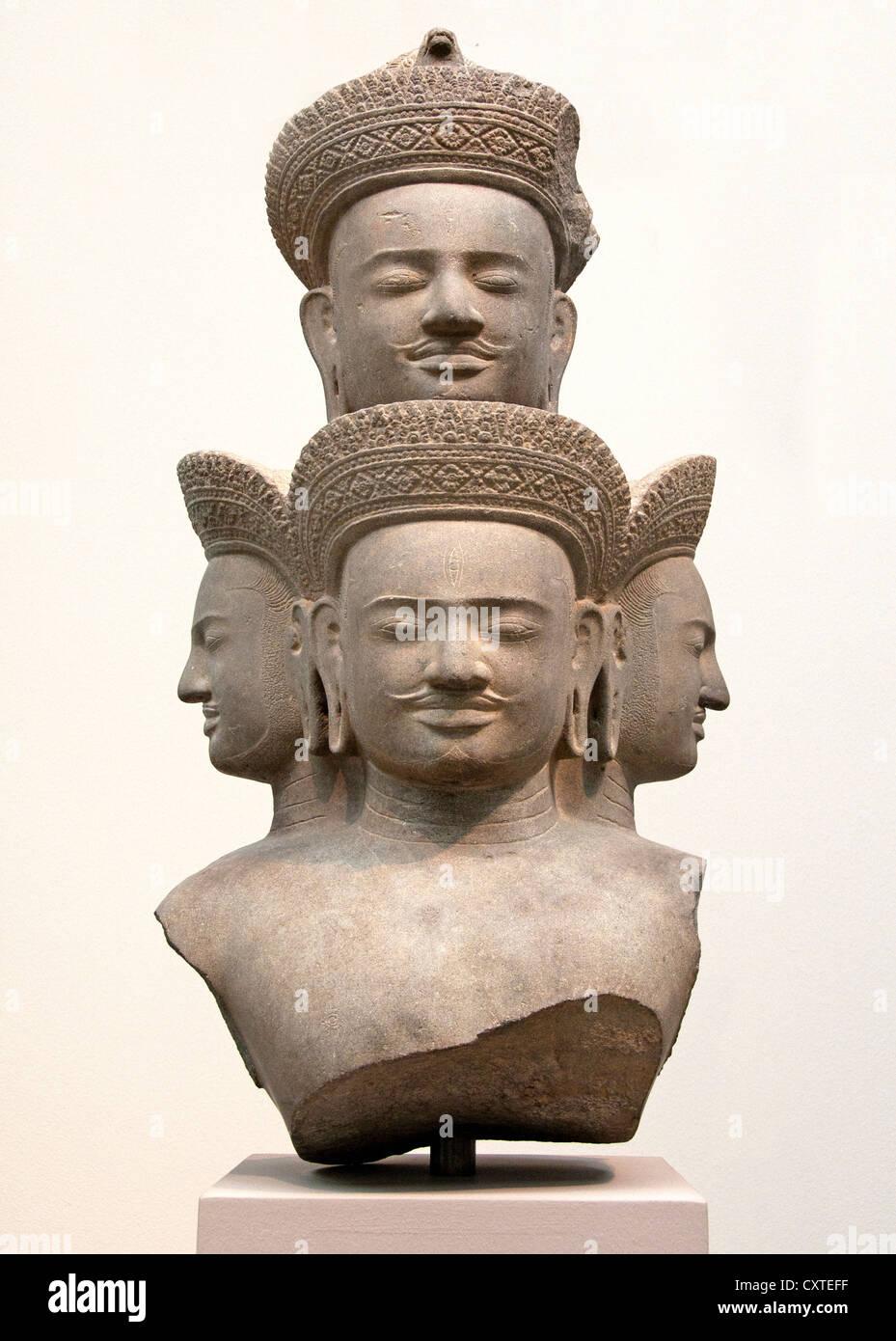 Bust of Five Headed Shiva Angkor 10th century Cambodia 80 cm - Stock Image