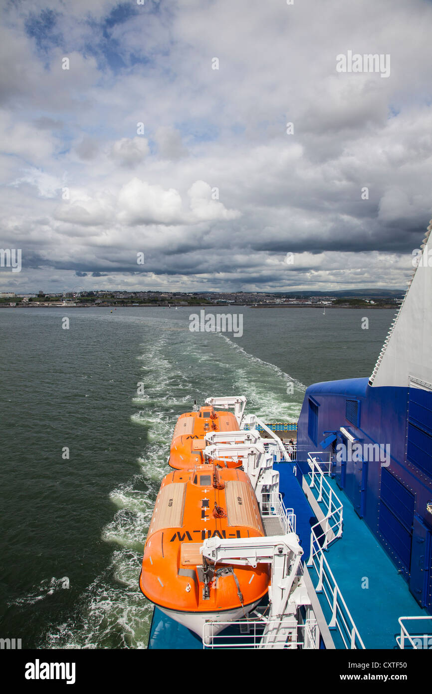 Lifeboats and view to Plymouth from Brittany Ferries ship Armorique - Stock Image
