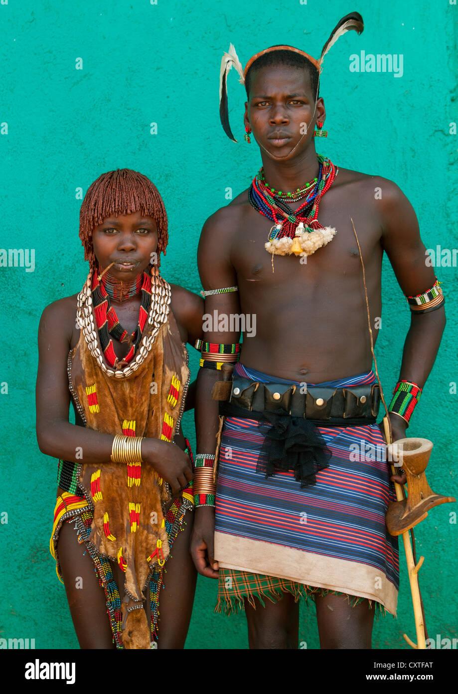 Maze Hamar Tribe Whipper And Girl, Turmi, Omo Valley, Ethi