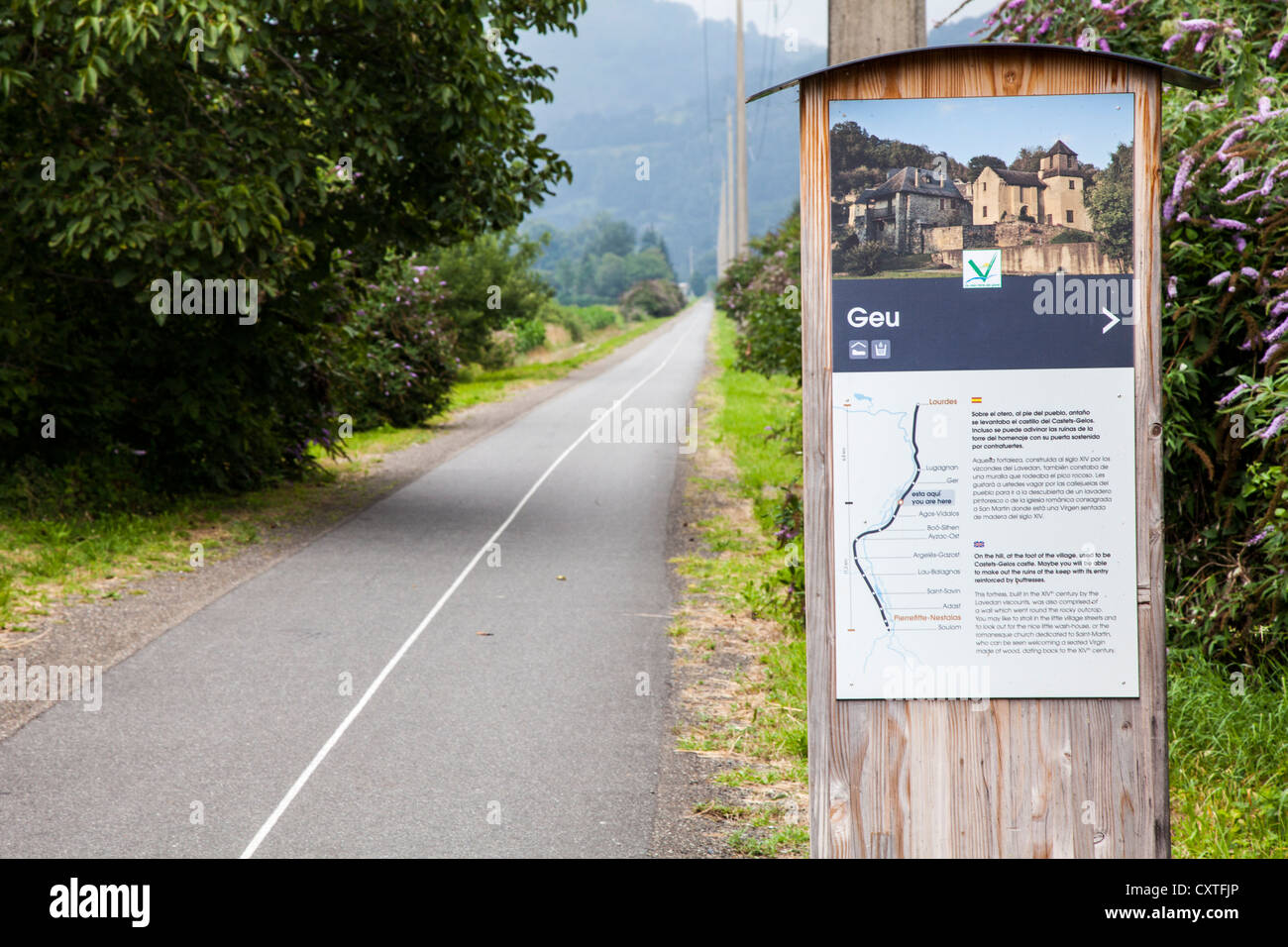 Cycle route between Lourdes and Pierrefitte-Nestalas in the Hautes Pyrenees, France Stock Photo