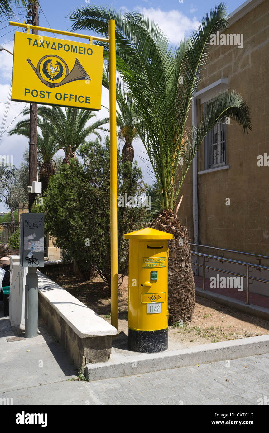 dh  NICOSIA CYPRUS Lefkosia South Cyrpus Post Office signpost and Cypriot yellow pillarbox Stock Photo