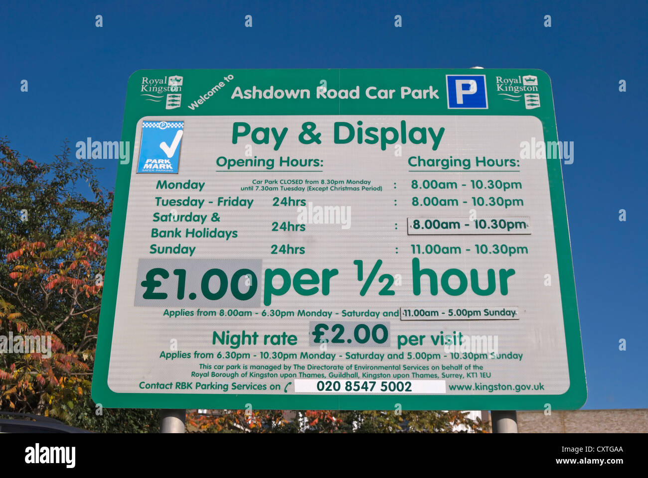pay and display car park sign, kingston upon thames, surrey, england - Stock Image