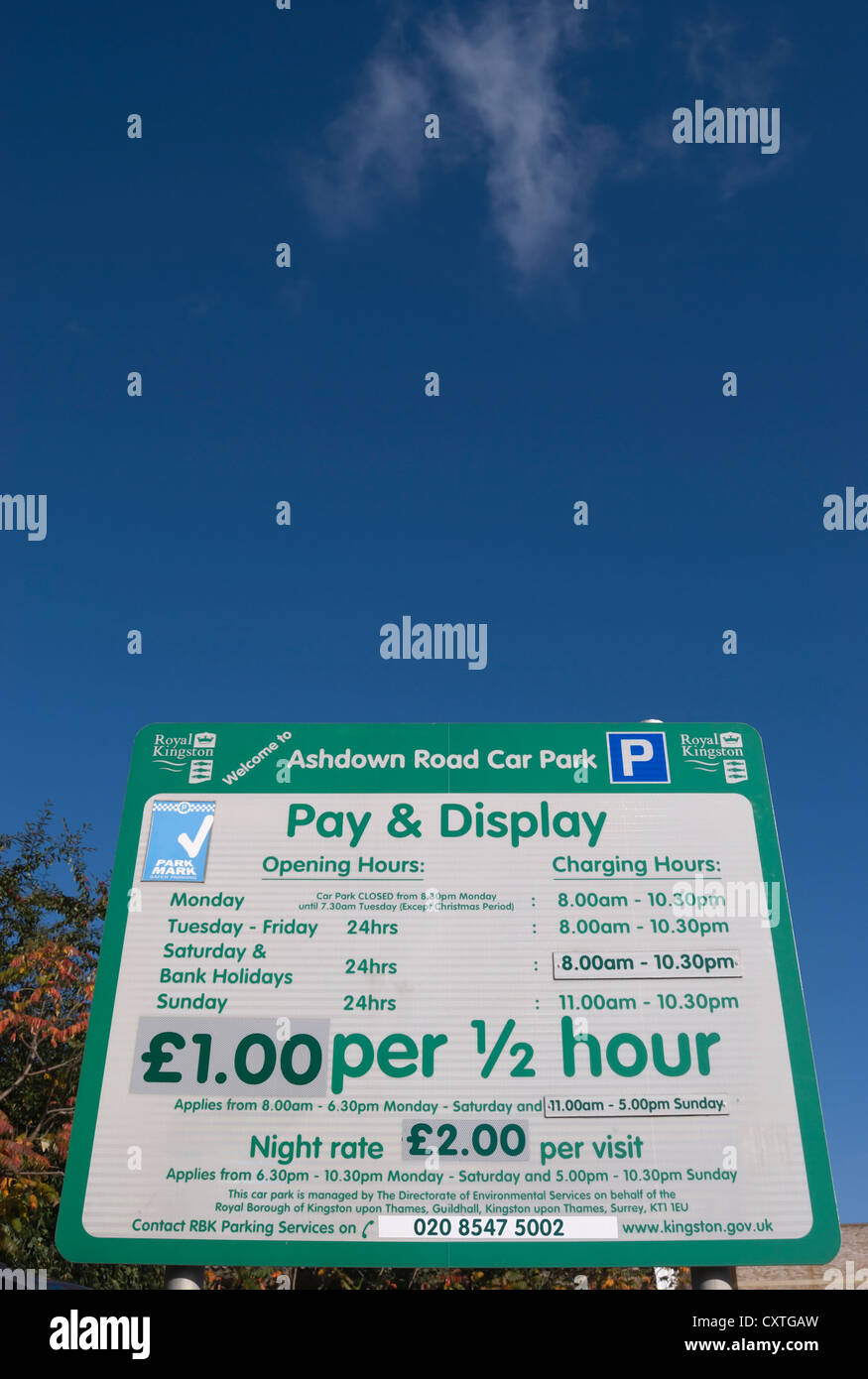 car park pay and display sign, kingston upon thames, surrey, england - Stock Image