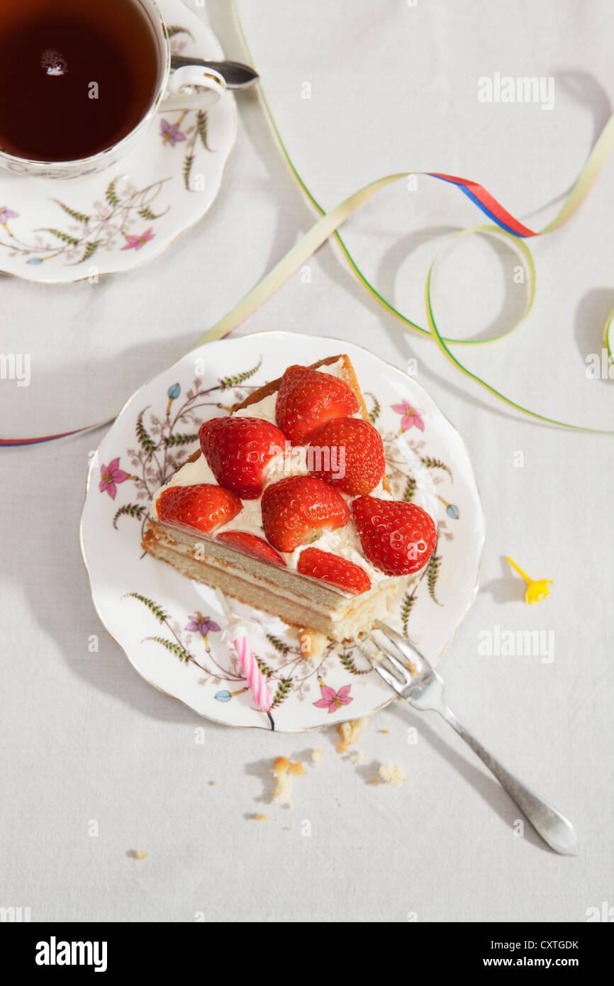 Slice Of Birthday Cake With Tea Stock Photo 50941567 Alamy