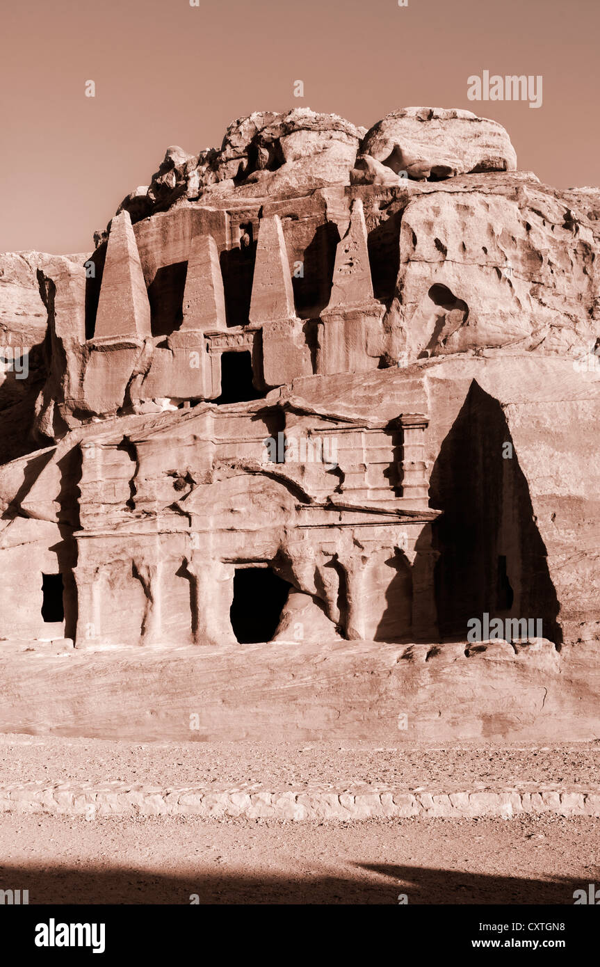 Obelisk Tomb, Petra, Jordan - Stock Image