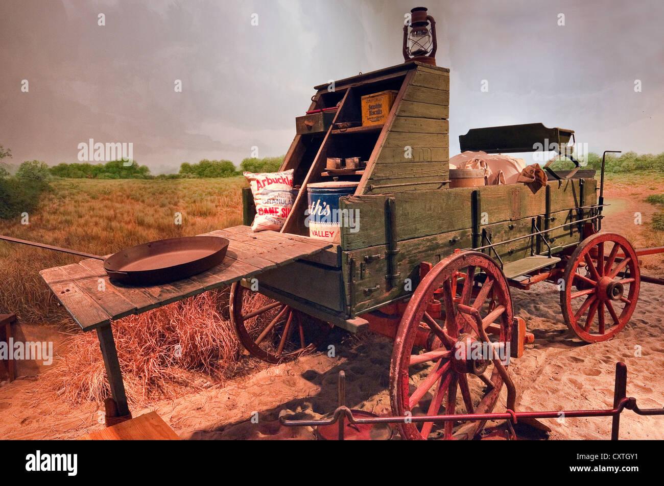 Chuck Wagon (late 19th century), Museum of South Texas History, Edinburg, Rio Grande Valley, Texas, USA - Stock Image