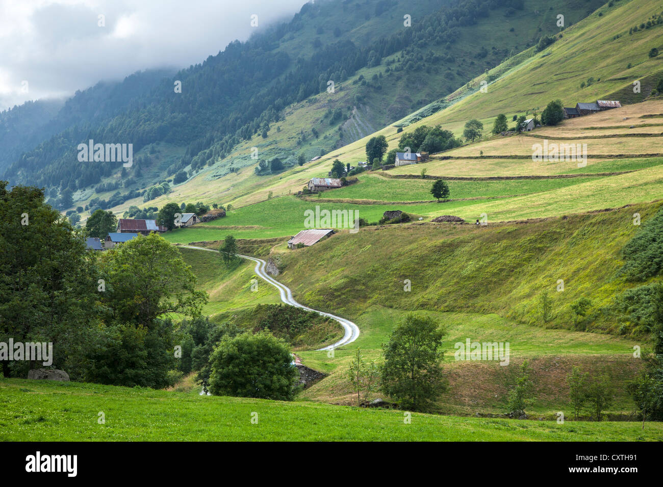 Scenery in the Pyrenees near Luz Saint Sauveur, Haute Pyrenees, France - Stock Image