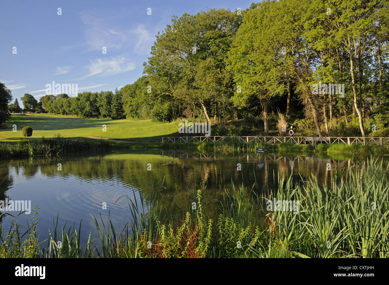 Pond Bridge and flowers on a Golf Course Bromley Kent - Stock Image