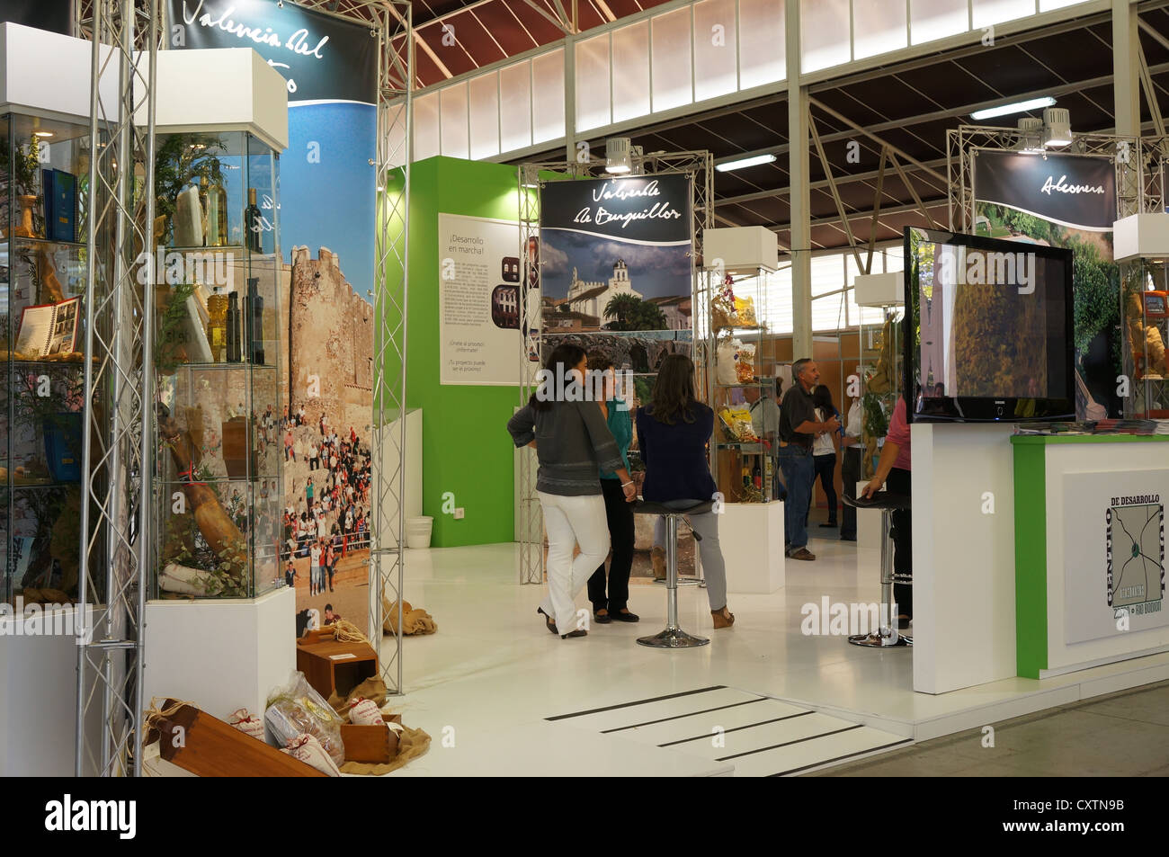 the participantes visit fair International Livestock agro-industrial exhibition, Area Agro-Food Products, at Zafra, Stock Photo