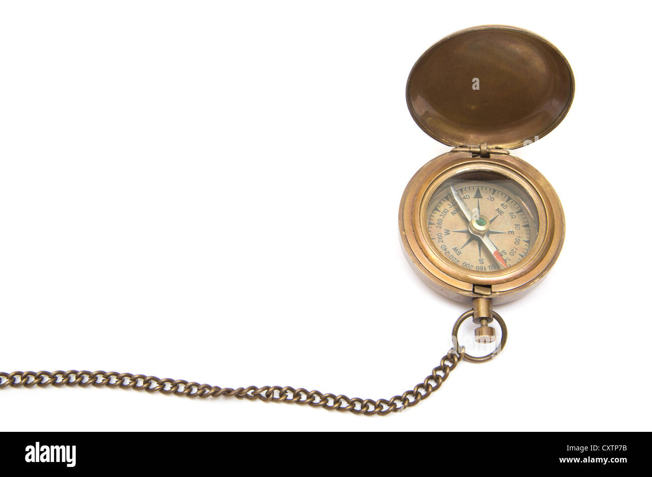Vintage compass isolated on white background - Stock Image