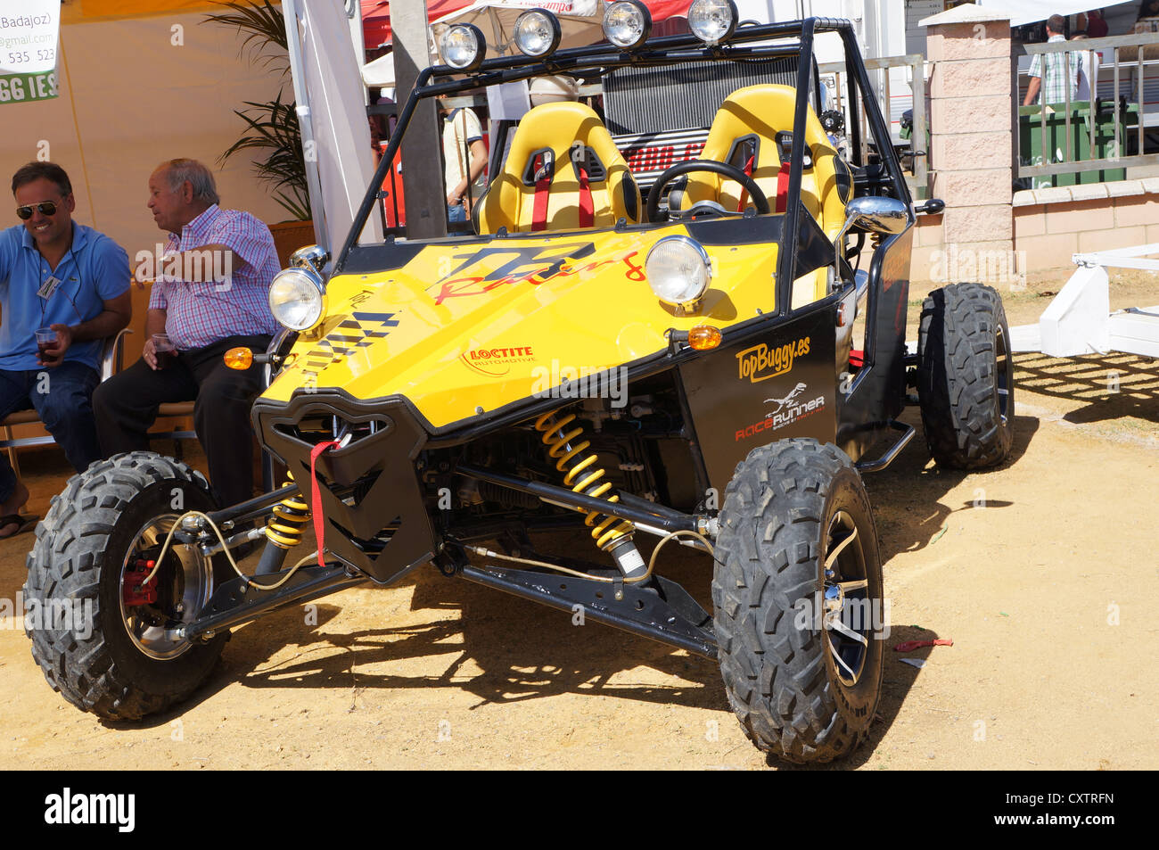 the fair International Livestock agro-industrial exhibition, view transportation futuristic monster car at Zafra, Stock Photo