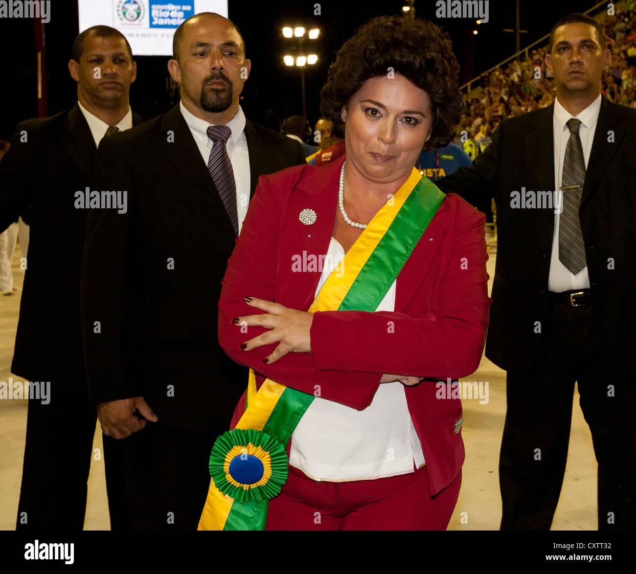 President of Brazil Dilma Rousseff attending Carnival Rio de Janeiro Brazil in 2012 - Stock Image