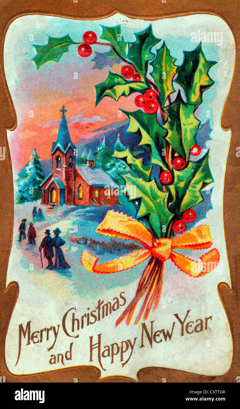 merry christmas and happy new year winter scene on a vintage card