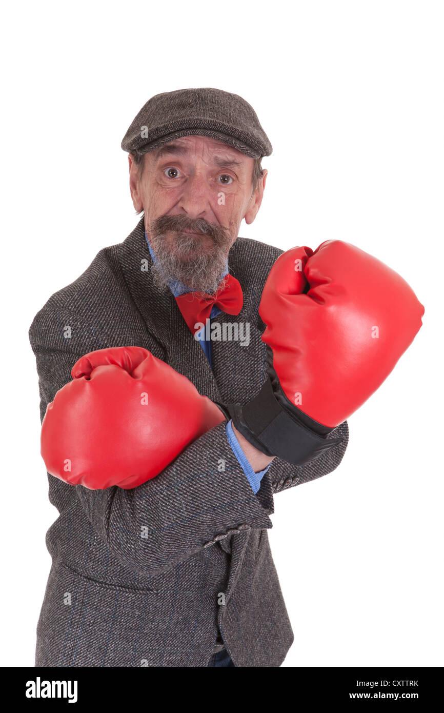 elderly comedian man isolated on white background - Stock Image
