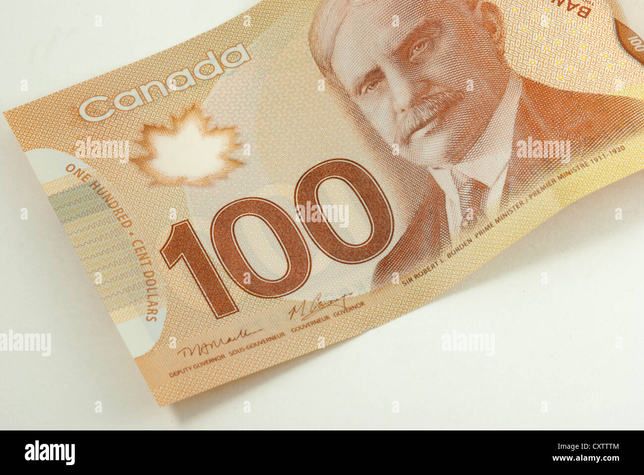 Hundred Canadian dollar bank note isolated  on white background - Stock Image