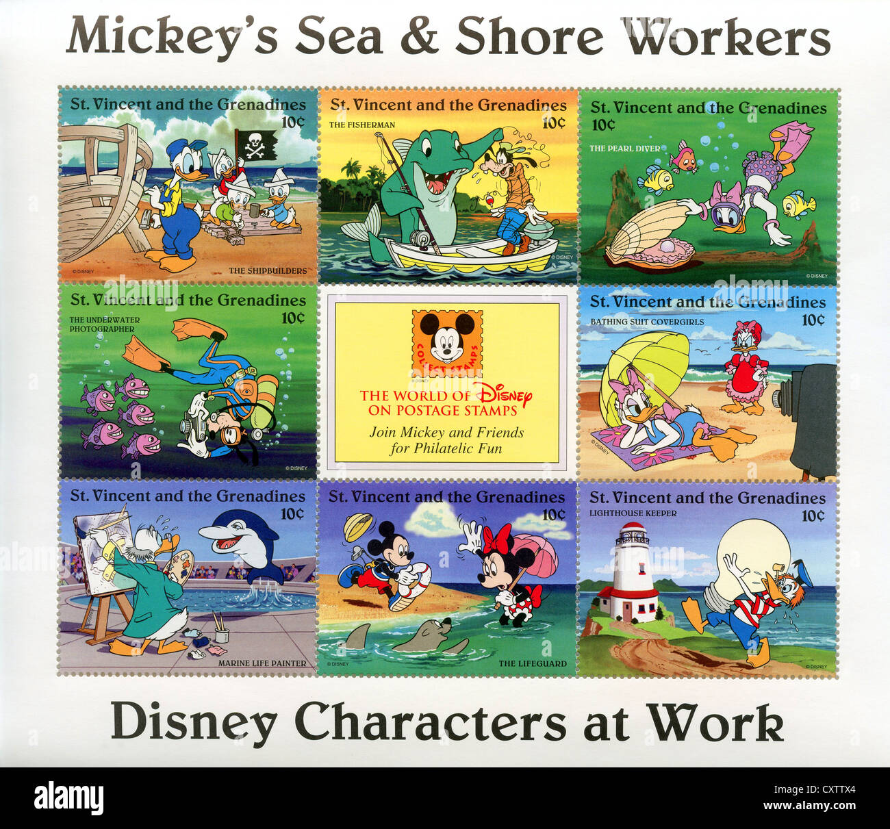 100 Pictures Cartoon Characters saint vincent and the grenadines postage stamps - disney