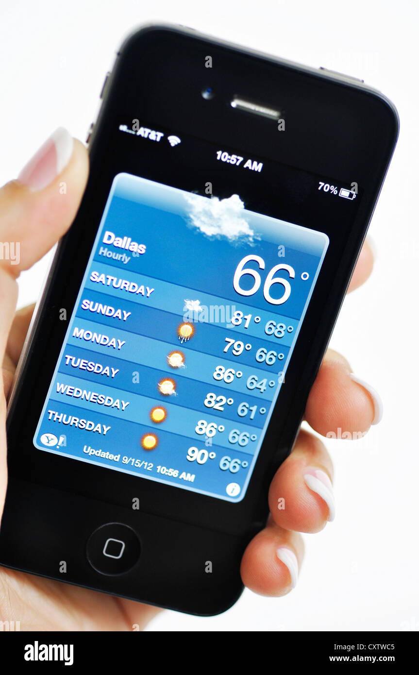 iPhone - Weather feature - Stock Image