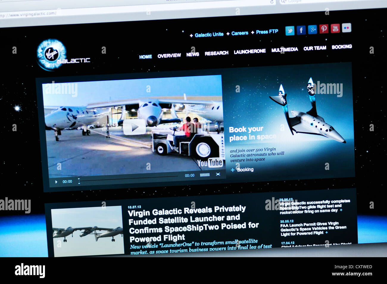 Virgin Galactic website - SpaceShipOne - Stock Image