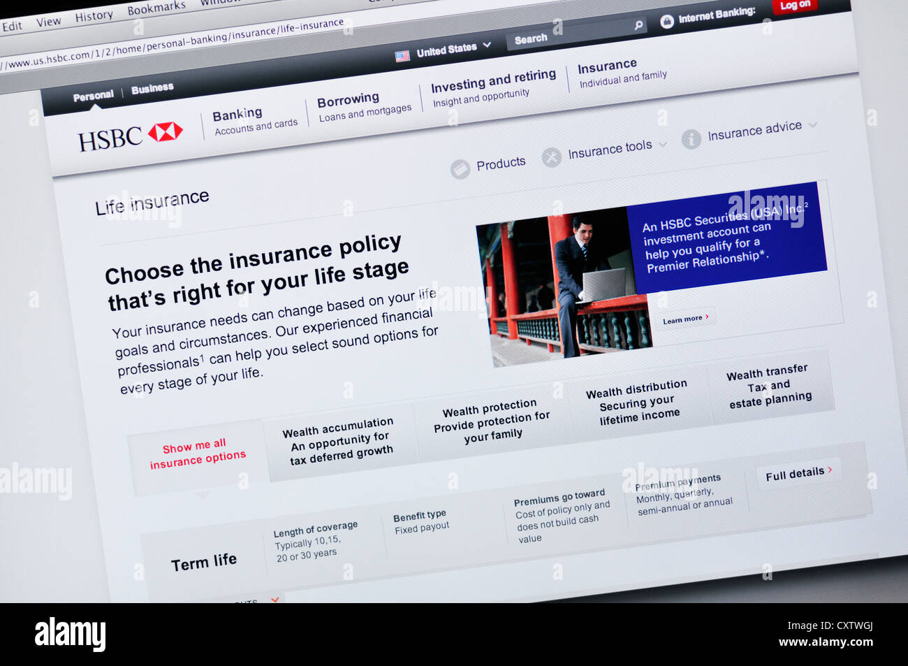 HSBC website - online banking and life insurance Stock Photo