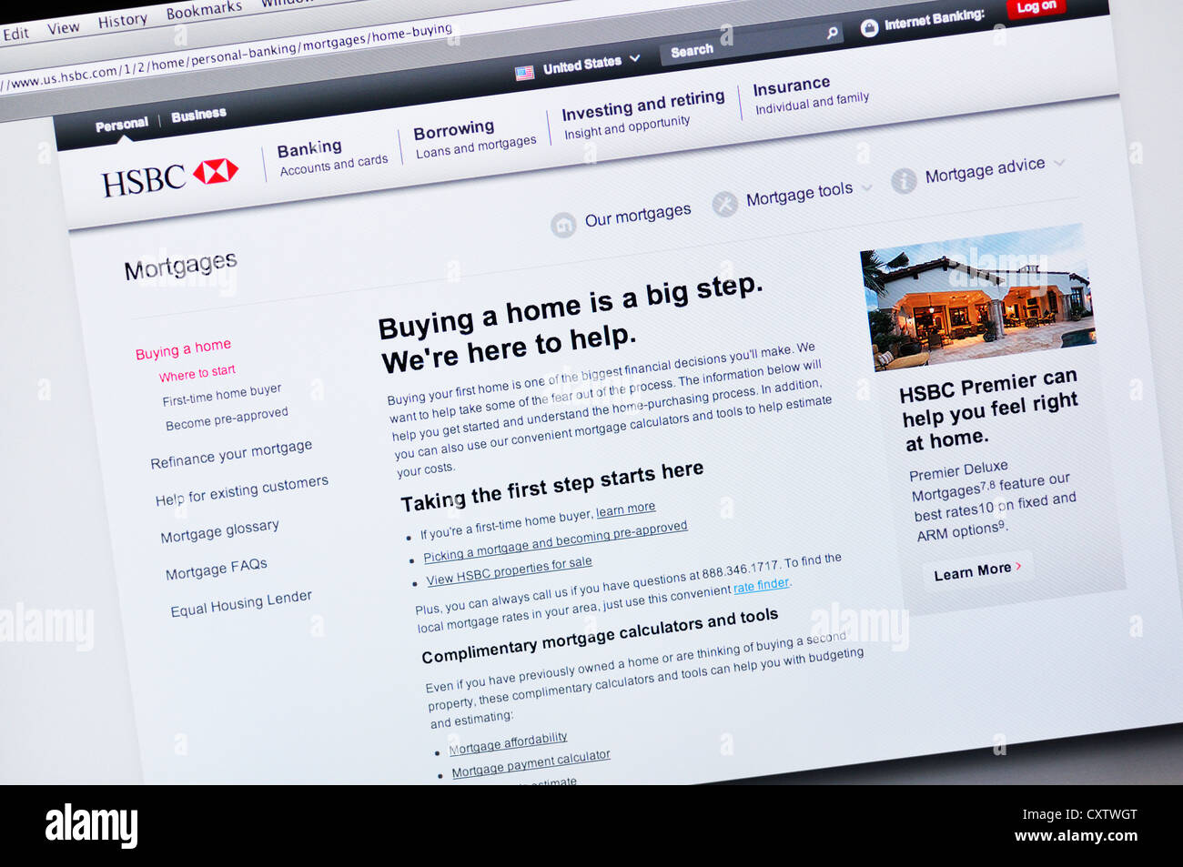 HSBC bank website - online banking and mortgages Stock Photo