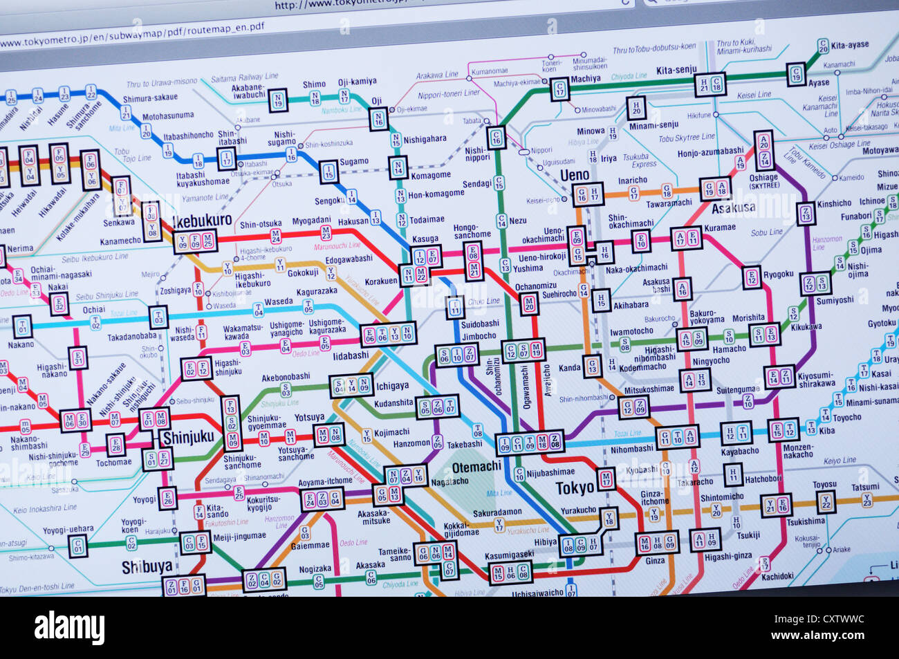 Tokyo Subway Map With Attractions.Tokyo Map Stock Photos Tokyo Map Stock Images Alamy