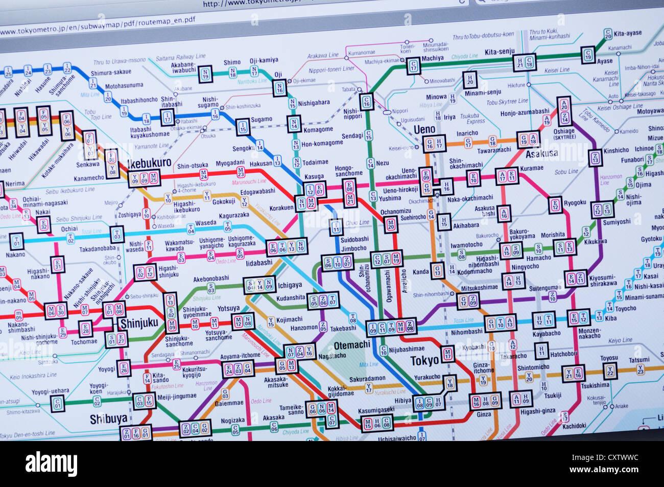 Tokyo Subway Map Hd.Tokyo Subway Map Website Stock Photo 50948952 Alamy