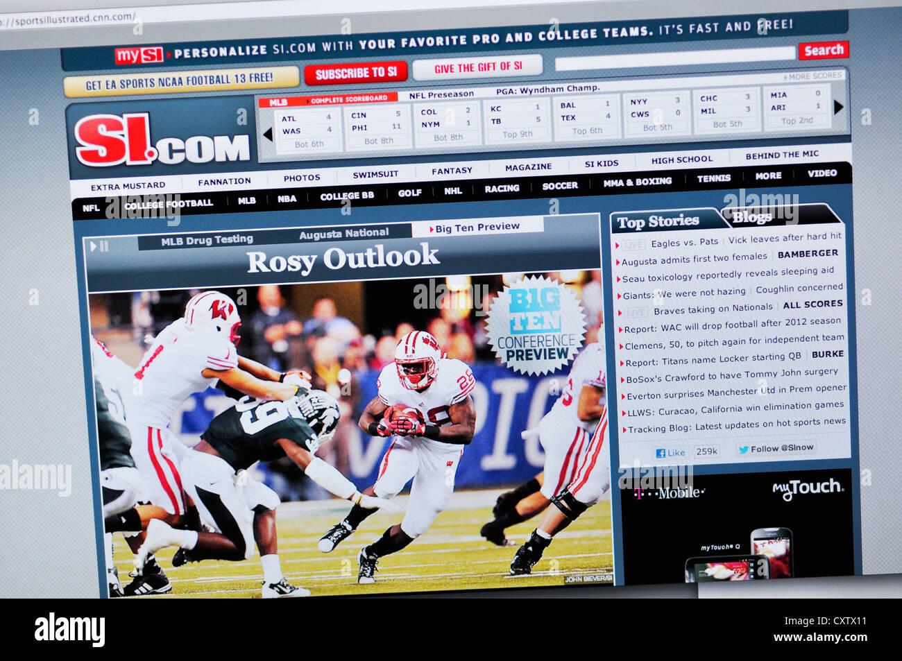 Sports Illustrated website - online sporting news Stock