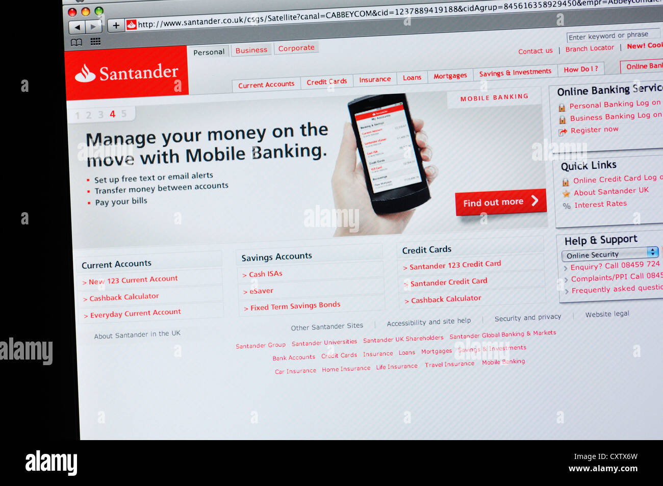 Santander bank website - online banking Stock Photo: 50949217 - Alamy