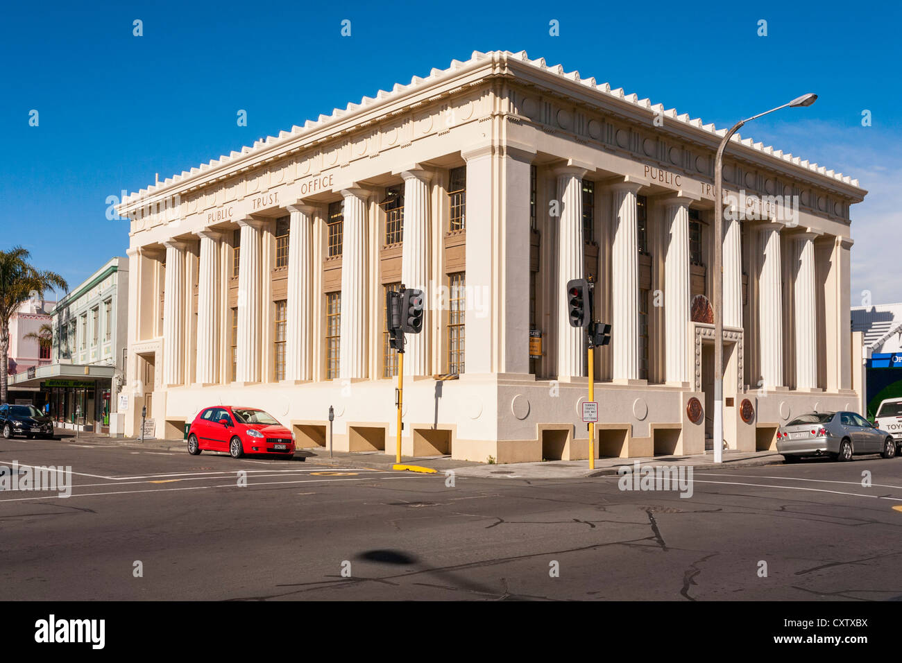 The Public Trust Office was one of the few buildings left standing in the centre of Napier, New Zealand, - Stock Image