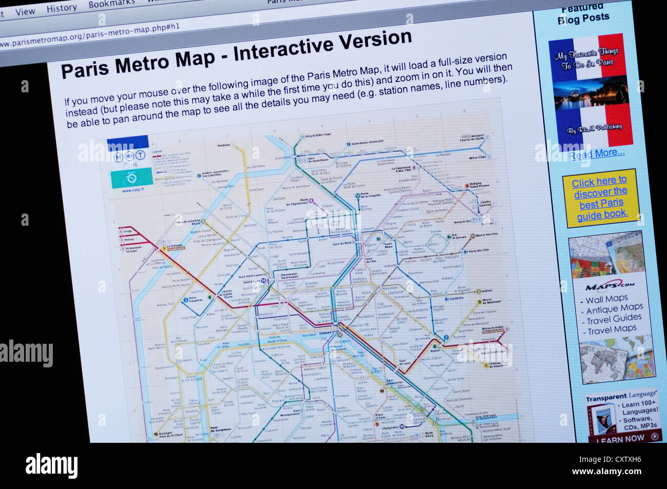 Paris Metro Map Website Stock Photo Alamy - What to see in paris map