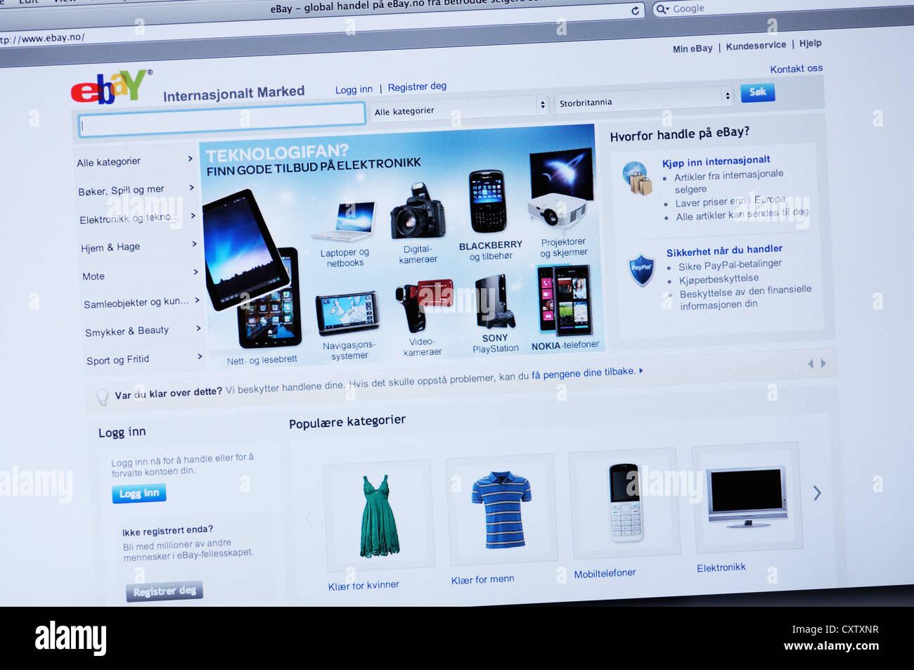 84580fbe Norwegian Ebay Online Shopping Website Stock Photos & Norwegian Ebay ...