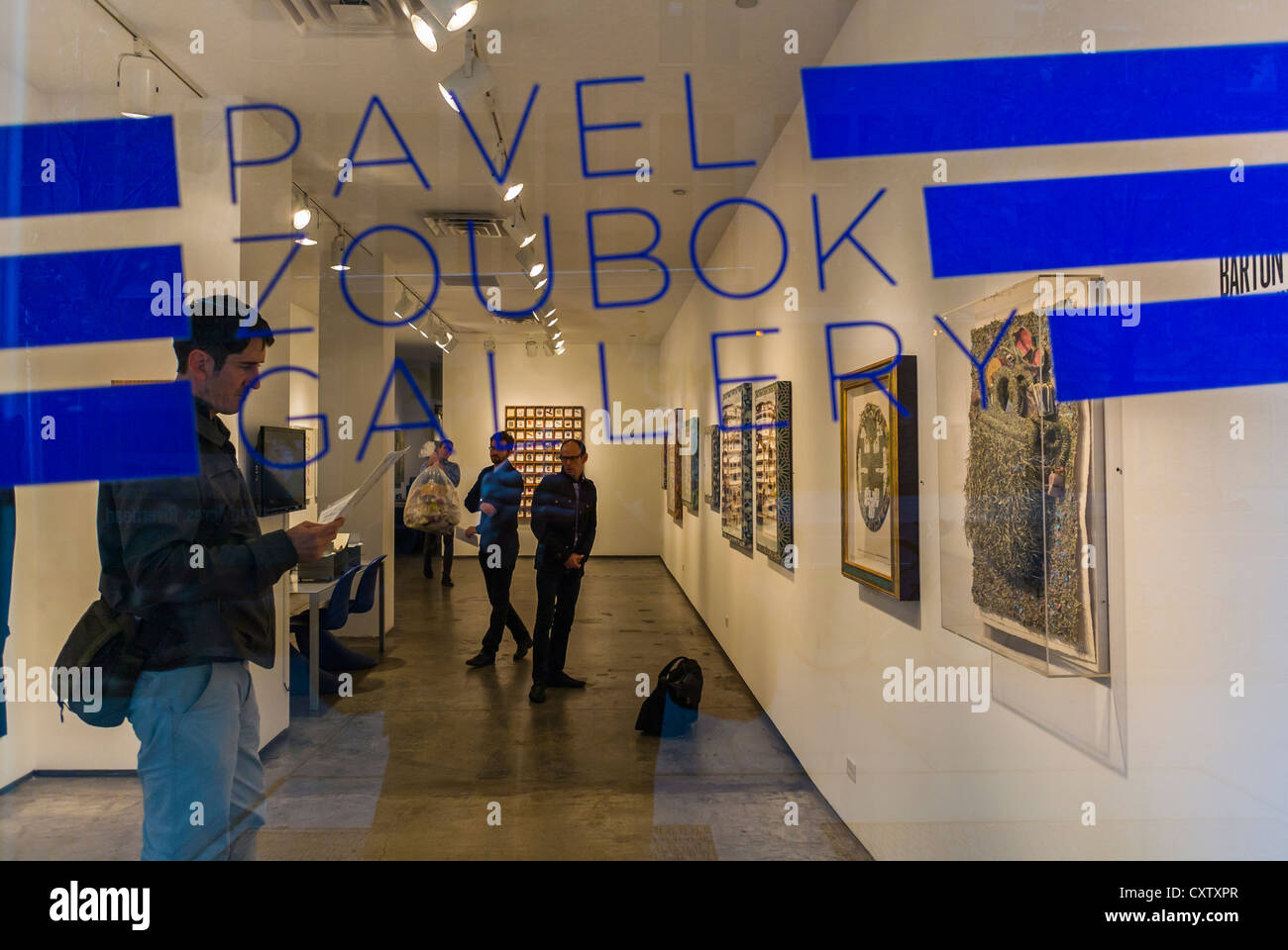 "New York City, NY, USA, People Visiting Art Galleries, ""Pavel Zoubok Gallery"", Window Sign, ""Thrill of the Hunt"", Stock Photo"
