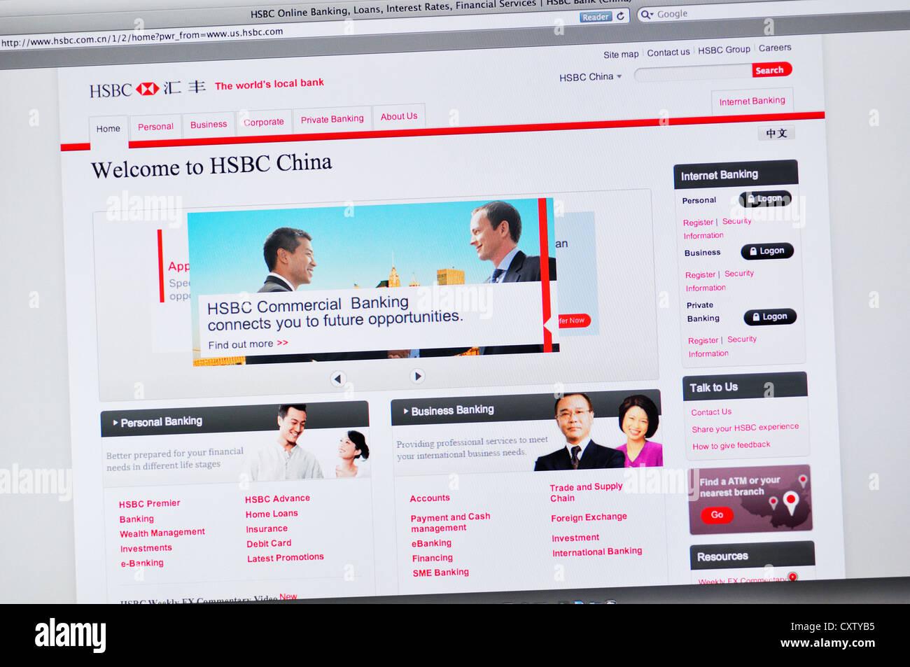 HSBC bank China website - online banking Stock Photo: 50950121 - Alamy