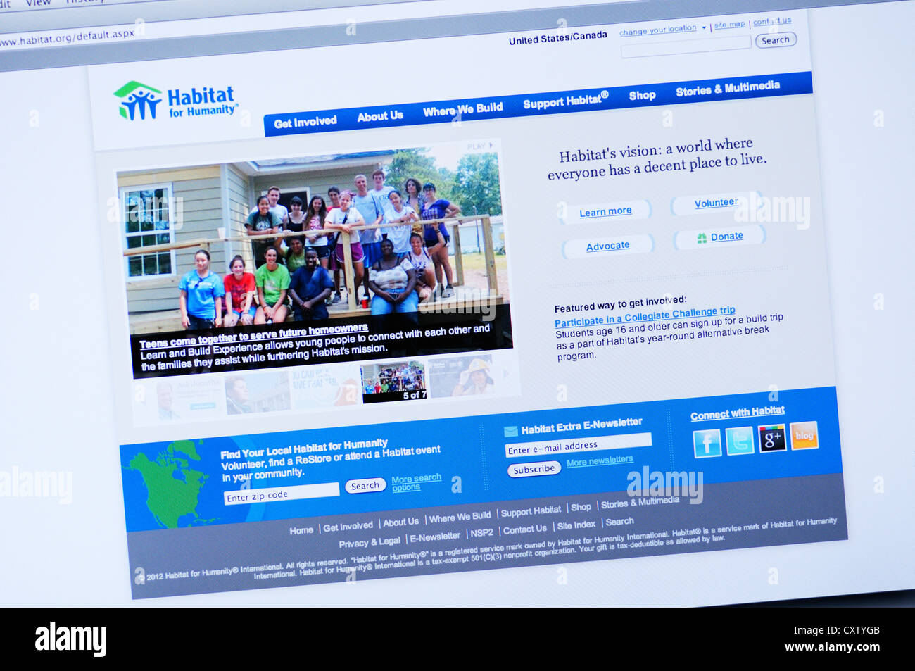 Habitat for Humanity website - nonprofit, ecumenical Christian housing organization building affordable houses for - Stock Image