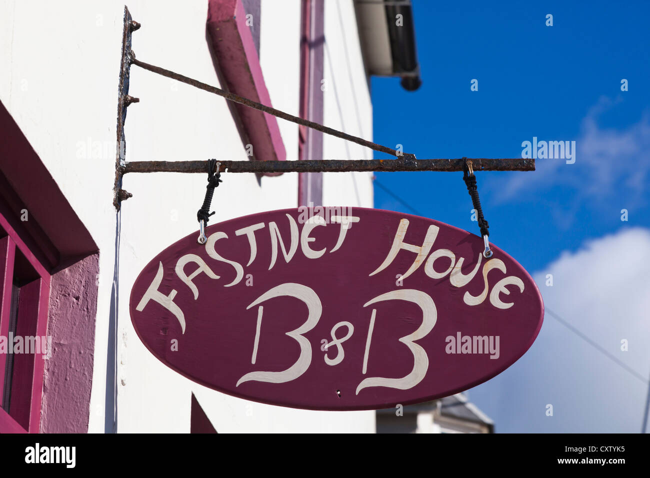Baltimore, West Cork, Ireland. Sign for Fastnet House B & B. Bed and Breakfast. Typical Irish sign. - Stock Image