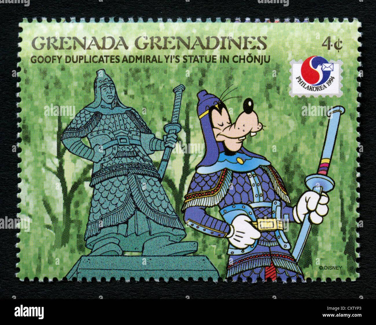 Grenada postage stamp - Disney cartoon characters - Goofy - Stock Image