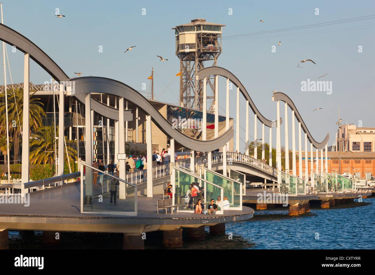 Barcelona, Spain. Rambla de Mar wooden walkway in Port Vell area. - Stock Image